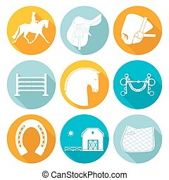 Horse Icons - Detailed set of equestrian icons Modern flat...