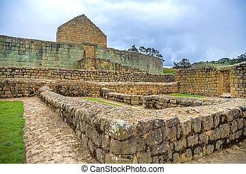 View of ancient Inca ruins - View of the ancient Inca ruins...