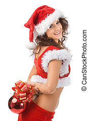 Christmas girl - Sexy handsome santa with red ball in hands