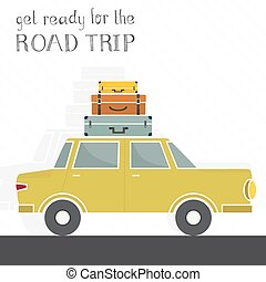 Road Trip Concept - Concept illustration of a road trip with...