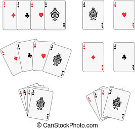 Four aces isolated and four different arrangements