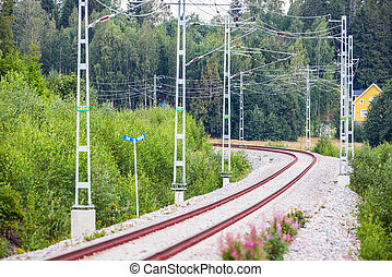 Railtrack in a beautiful curve - Railtrack in a curve in...