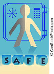 word Safe on cubes in front of paper man