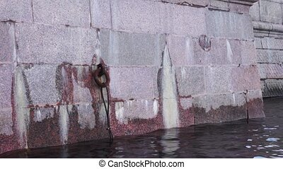 Granite of Neva river bank in St. Petersburg - Close up view...