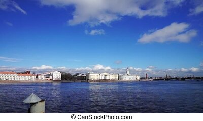 Universitetskaya embankment at Neva river, St. Petersburg -...