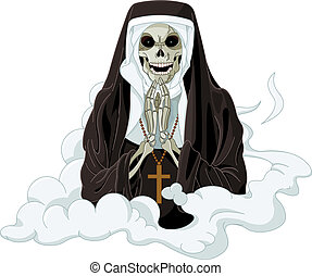 Horror nun - Illustration of Halloween horror nun