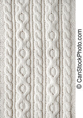 Cable knit fabric background - Knit texture of white wool...