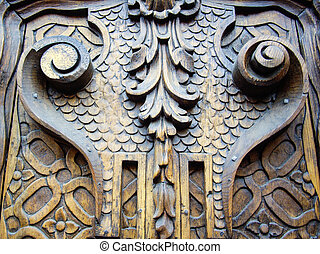 Old carved wooden door - Colonial carved door in Mexico
