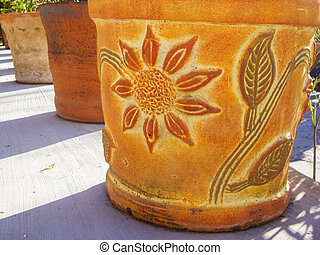 Mexican flower pots with floral design
