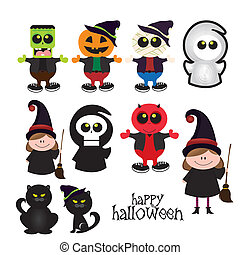 Halloween Costumes - abstract halloween costumes on a white...