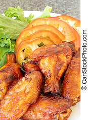 Chicken Wings - Spicy Chicken Wings Barbecued on a Plate