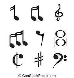 Music notes - abstract music notes on a white background