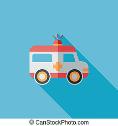 ambulance flat icon with long shadow