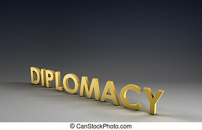 Diplomacy Focus on Corporate Background in 3d