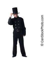Male model posing in costume of chimney sweep - Male model...