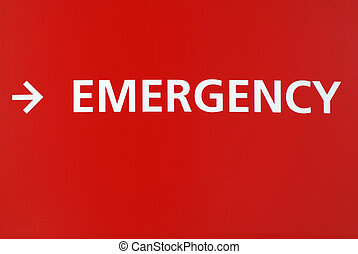 Emergency Sign - Red sign with the word emergency in white...