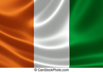 Cote d'Ivoire's National Flag - Close-up of the flag of...