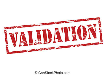 Validation - Rubber stamp with word validation inside,...