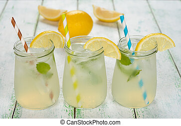 Fresh lemonade on a white background