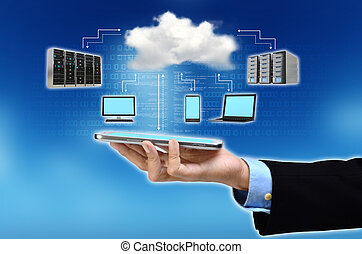 Cloud Computing Concept - A businessman hand holding and...
