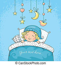 Adorable sleeping child vector illustration