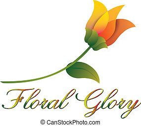 Floral Glory - A highly stylized orange flower with long...