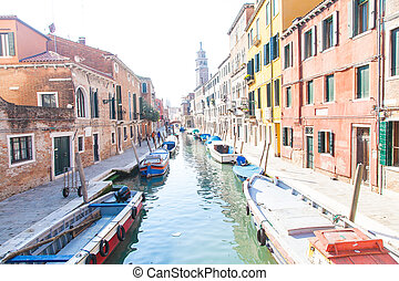 Many boat in Venice on Grand Canal