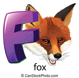 A letter F for fox - Illustration of a letter F for fox on a...