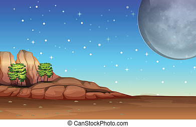A desert under the bright full moon and sparkling stars