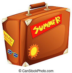 A big bag for a summer vacation - Illustration of a big bag...