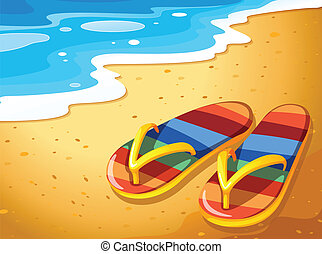 A pair of sandals at the beach - Illustration of a pair of...