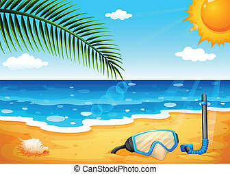 A beach with a shinning sun - Illustration of a beach with a...
