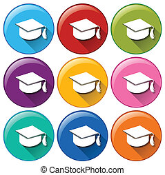 Graduation cap icons - Illustration of the graduation cap...