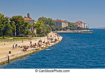 Zadar Riva waterfront view in Dalmatia, Croatia