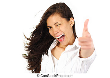 Excited woman blinking - Beautiful woman giving tumbs up...