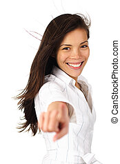 Beautiful woman pointing or pressing a button. Isolated on...