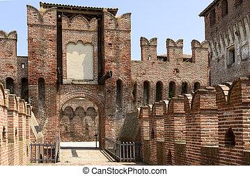 puente levadizo, Acceso, principal, patio, Soncino, castillo