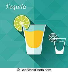 Illustration with glass of tequila in flat design style.