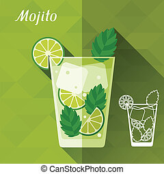 Illustration with glass of mojito in flat design style.
