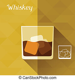 Illustration with glass of whiskey in flat design style.