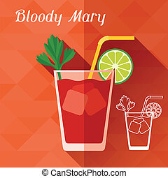 Illustration with glass of bloody mary in flat design style