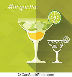 Illustration with glass of margarita in flat design style