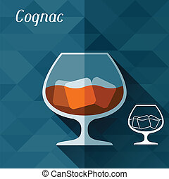 Illustration with glass of cognac in flat design style