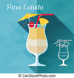 Illustration with glass of pina colada in flat design style.
