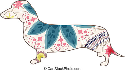 Dashshund vintage - vector illustration of dashshund vintage...
