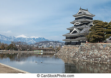 Japan Castle in the winter and blue sky