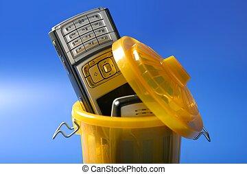 Mobil, célula, teléfono, basura