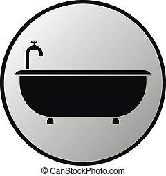 Bathtub button on white background. Vector illustration.
