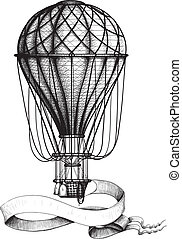 Vintage hot air balloon with banner - Vintage hot air...