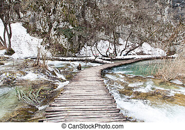 Plitvice Lakes National Park in the winter season